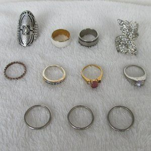 Collection Lot 11 Costume Jewelry Rings Sz 7-7.75